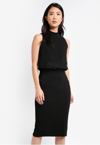 ZALORA black Double Layer Dress with Crochet Trim AE8A1AA81F4D6CGS_1
