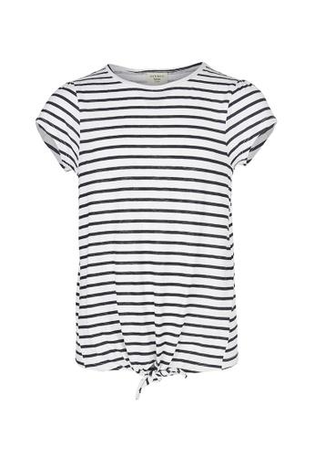 Gen Woo white Striped Tie Front T-shirt By Gen Woo 54E64KA176524DGS_1