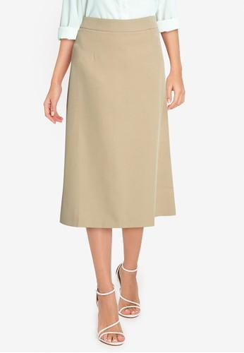 ZALORA WORK brown High Waist A Line Midi Skirt 85010AA2AF07C4GS_1
