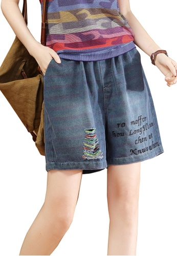 A-IN GIRLS navy Denim Shorts With Elastic Waist 3C517AA7D6C1F1GS_1