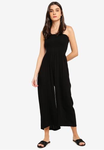 6c0fd4dd206 Buy Miss Selfridge Black Shirred Bandeau Jumpsuit Online on ZALORA ...