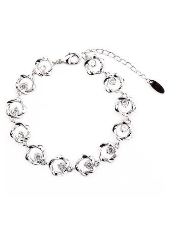 OUXI silver OUXI Elegant Flower Zirconia Bracelet OU821AC21TNMMY_1