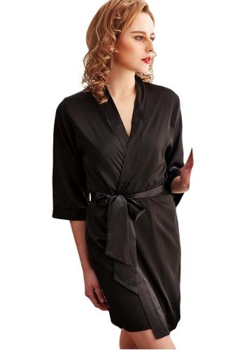 LYCKA 黑色 LCB8009-女士一件式居家休閒睡袍-黑色 4CC38AA7BF97E4GS_1