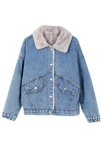 Its Me blue Fashion Plus Fleece Denim Jacket 38659AA723349AGS_1