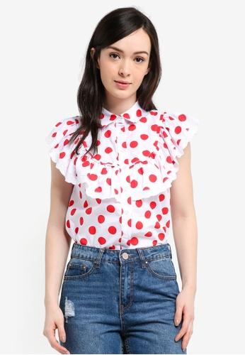 LOST INK white Broderie Trim Polka Dot Shirt 56B1DAAF7C50A7GS_1