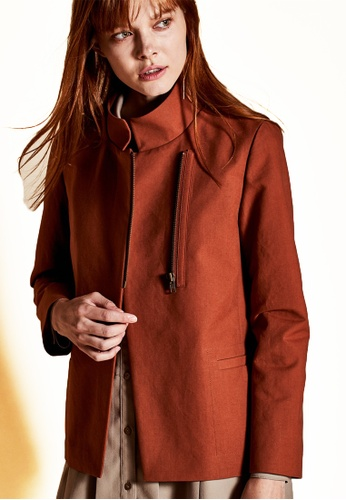 The K Story brown Standing Collar Jacket C48DCAAE4E9879GS_1