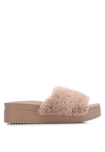 VINCCI brown Faux Fur Wedge Sandals VI831SH0S52WMY_1