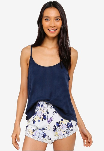 Cotton On Body blue and navy Rib Sleep Tank Top A8609AA79DCF6FGS_1