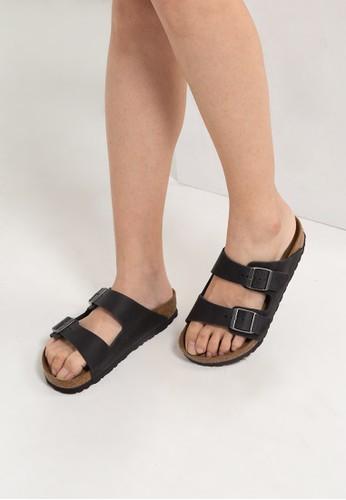 Birkenstock black Arizona Oiled Leather Sandals BI090SH0RTJ1MY_1