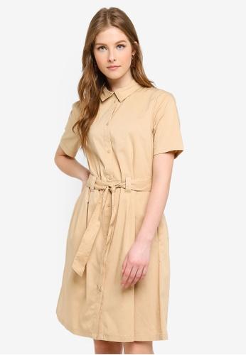 JACQUELINE DE YONG beige Millie Short Sleeves Dress B7037AA62E4502GS_1