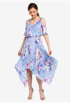e23bffdf 56% OFF Lipsy Pleated Cold Shoulder Printed Midi Dress S$ 177.90 NOW S$  77.90 Sizes 6 8 10 12