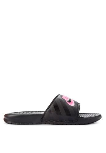 "Nike black Women's Nike Benassi ""Just Do It."" Sandals 3FAAASHC9AD8F9GS_1"