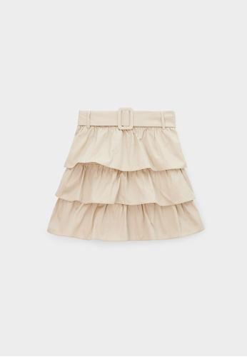 Pomelo beige Ruffle Tier Belted Skirt - Cream 78E8DAA17EC720GS_1