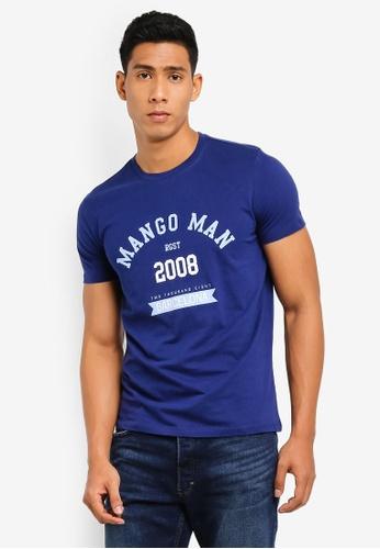 2e0af297fc Buy MANGO Man Logo Cotton T-Shirt Online on ZALORA Singapore