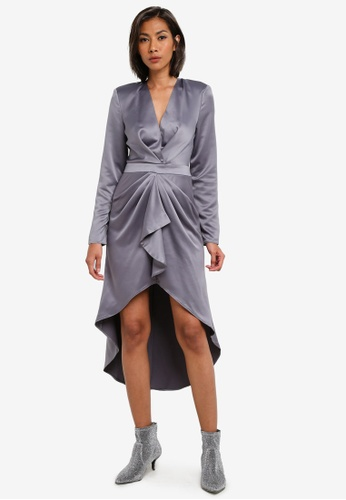 MISSGUIDED grey Grey Satin Midi Dresss MI511AA0S2WGMY_1