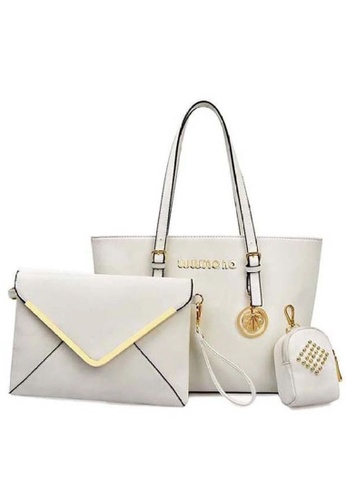 LULUGIFT white Lulumono PU Leather 3 in1 Tote Dinner Clutch Bag D01E3AC2A3952DGS_1