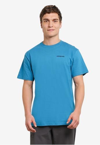 Patagonia blue P-6 Logo Cotton T-Shirt PA549AA0RQEBMY_1