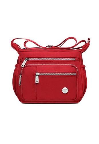 Lara red Women's Oxford Fabric Multi-pockets Zipper Cross-body Bag - Red 9C6ABACAC19F1FGS_1