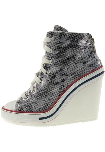 Maxstar 銀色 新款韩国鞋777-BZ-Snake時尚蟒蛇布混合女銀色 US Women Size MA345SH94HBDTW_1