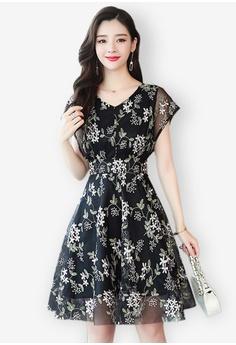 7f9447b23 Sunnydaysweety black New Chiffon Floral Tunic One Piece Dress  9047CAA1CFD406GS_1