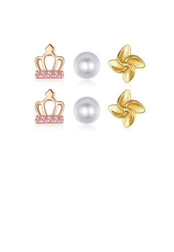 Glamorousky pink 925 Sterling Silver Fashion Simple Crown Flower Imitation Pearl Three-piece Stud Earrings with Pink Cubic Zirconia 430D5ACA6CEBCBGS_1