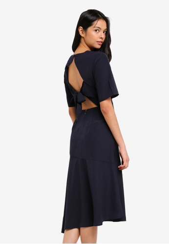 WAREHOUSE navy Asymmetric Tie Back Dress 1D2FEAAAF75373GS_1