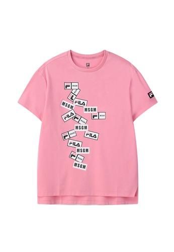 FILA pink FILA x MSGM Layer Logo Side Split T-shirt 66978AA23C548CGS_1