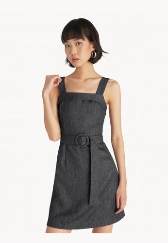 Pomelo grey Mini Belted Dress - Dark Grey 023B8AA54794E8GS_1