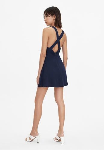 Pomelo blue Cross Back Bow Tie Dress - Navy 15F55AA240A065GS_1