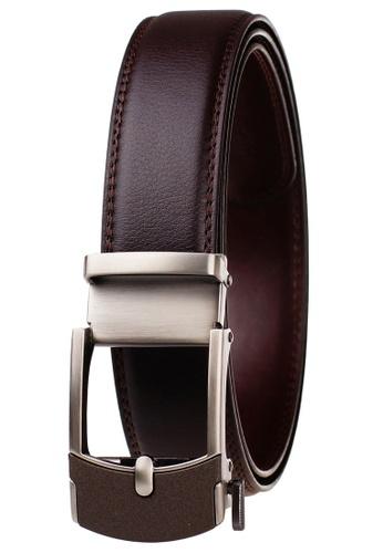 FANYU grey Leather Dress Belt With Automatic Buckle belt 2CAB2AC9FE5CEFGS_1