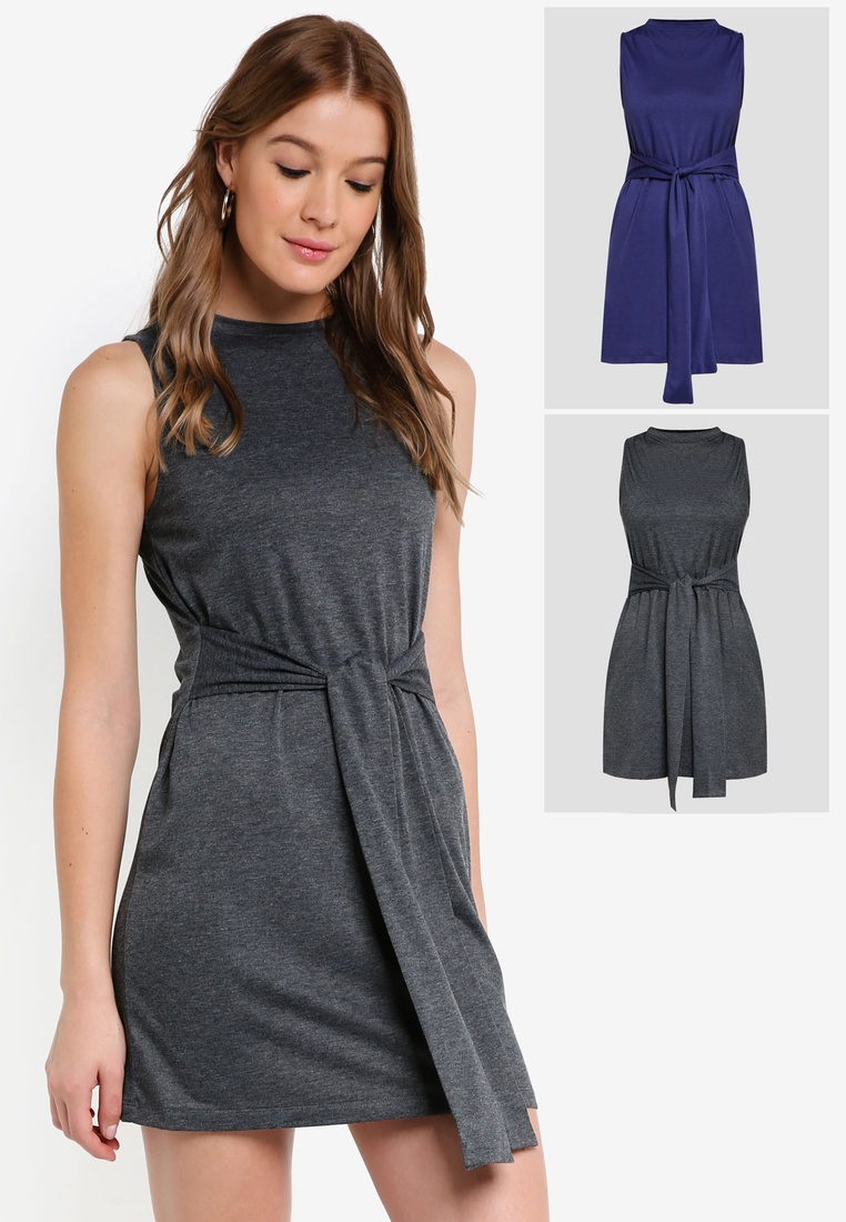 Marl Basic ZALORA BASICS Dress Navy Mini pack 2 Tie Grey Waist pA661q