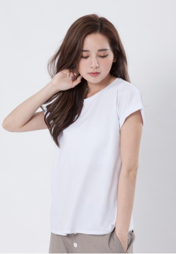 5ba79a6f6272 so that s me white Folded Sleeves Plain Cotton T-shirt SO555AA26EGRHK 1