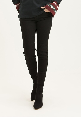 H:CONNECT black Solid Color Skinny Denim Jeans 57316AAE05E0A3GS_1