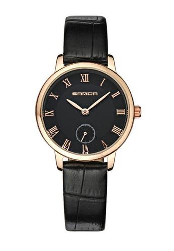 SANDA gold SANDA P187 Luxury Genuine Leather Black Band Date Display Quartz Watch for Women (Black Gold) SA708AC0RX1ZMY_1