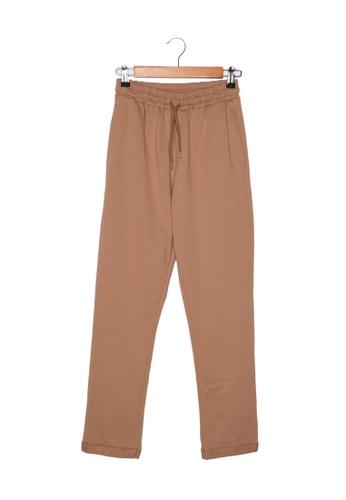 Trendyol brown Elastic Tie Waist Knit Pants 9AA5DAADAF0015GS_1