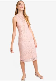 82d277b797 Something Borrowed pink Lace Yoke Bodycon Midi Dress E6B67AA8370911GS 1