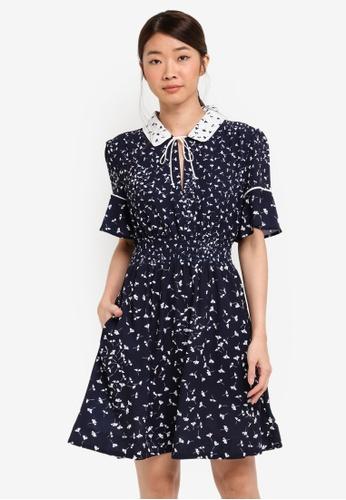 b543329414 Shop French Connection KOMO DRAPE SS FLARED DRESS Online on ZALORA ...