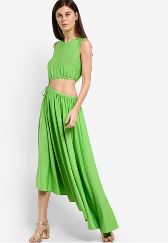 WAREHOUSE green Slinky Cut Out Midi Dress WA653AA49EBYMY_1