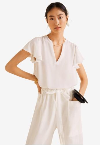 Mango 白色 Ruffled Sleeve Blouse D172EAAC8FC044GS_1