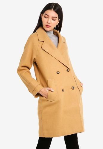 MISSGUIDED 褐色 雙排釦大衣 D06BBAAE020BAAGS_1