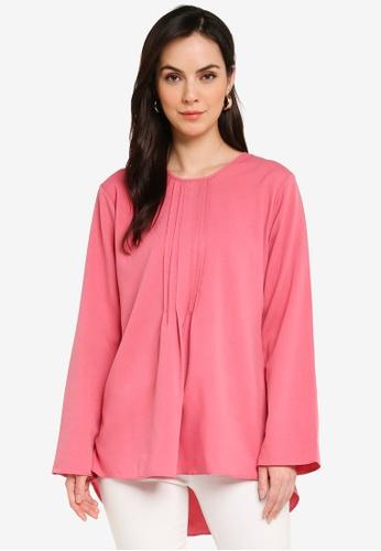 Aqeela Muslimah Wear pink Pleated Top 0F678AA347AB8AGS_1