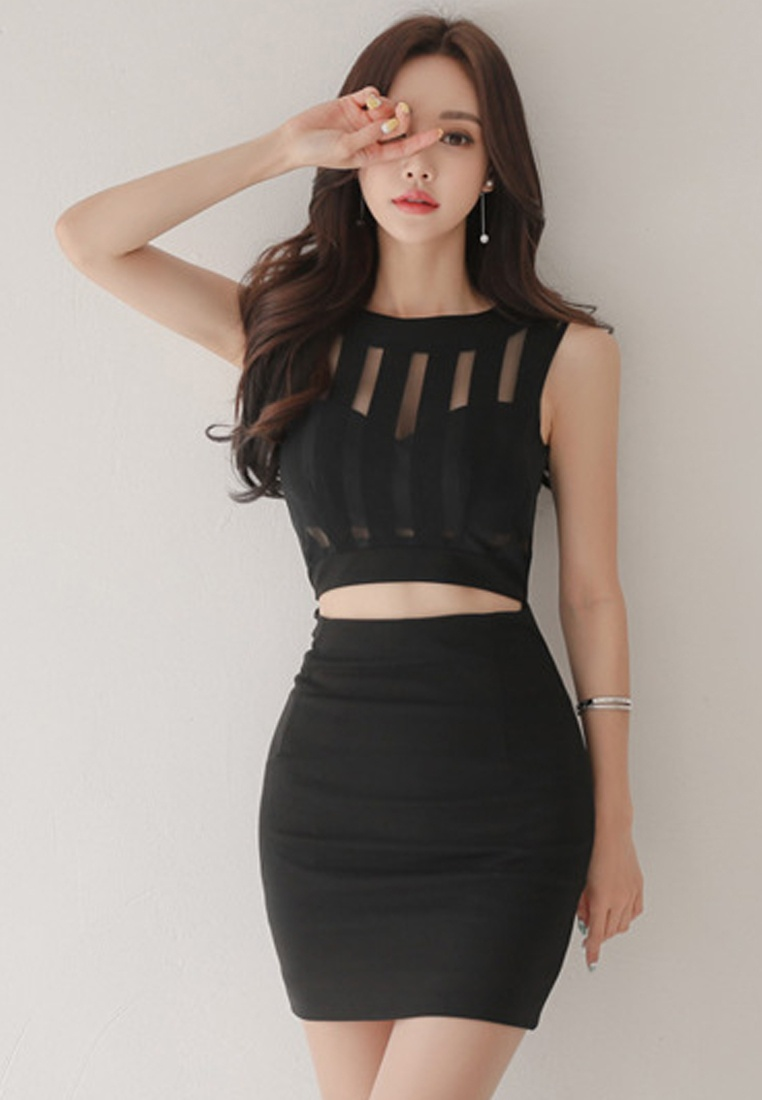 Dress Black Black Piece UA061917 Sleeveless One New Sunnydaysweety 2018 5qzgBwX1x8