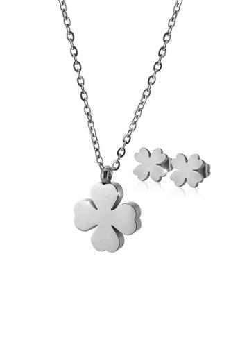 CELOVIS silver CELOVIS - Destiny Four Leaf Clover Necklace + Earrings Jewellery Set in Silver 2DE3BACBE9F2D3GS_1