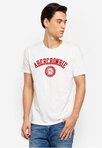 Abercrombie & Fitch 白色 LOGO刺繡T恤 BF646AA19021B0GS_1