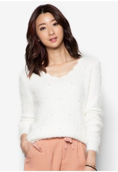 V-Neck Mohair Sweater With Pearl Detail