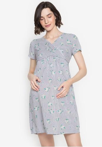 BUNTIS blue Emilia Maternity Overlapped Empire Dress 0BAF3AA2C262A3GS_1