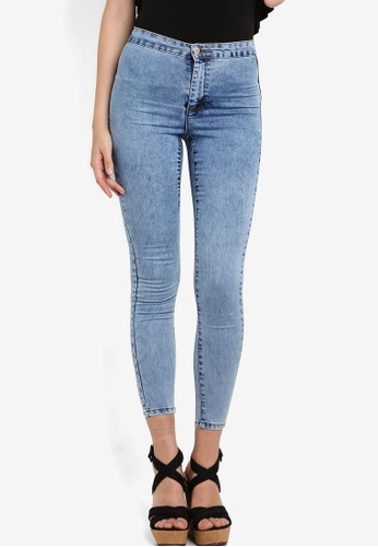 Miss Selfridge blue Steffi Acid Blue Super High Waist Jeans MI665AA66EBHMY_1