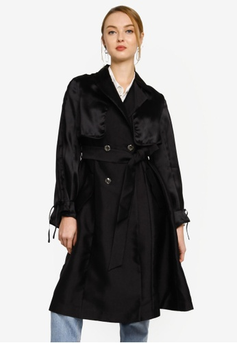 Hopeshow black Long Sleeve Knee Length Trench Coat with Sash Belt 9593EAAC5F8E0EGS_1