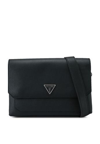 Guess black Ambrose Flap Bag Shoulder Bag D358AAC85595E4GS_1