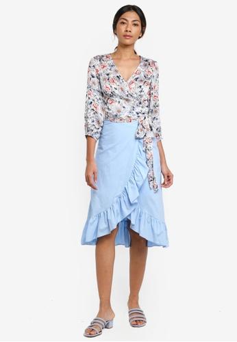 Haute Kelly blue Nari Floral Print Top & Ruffle Skirt Set EC275AAA63FC8BGS_1